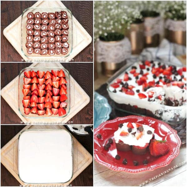 Super simple dessert idea! No Bake Strawberries & Cream Chocolate Cake