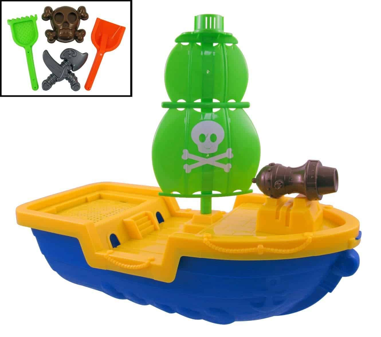 10+ Best Games and Toys for a Fun Day at the Beach: Pirate Ship Beach Toy Set| www.thepinningmama.com