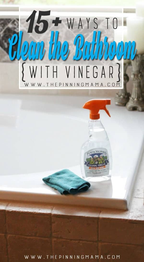 Great list of ways to clean the bathroom with vinegar! Vinegar helps break down mold, mildew, and hard water stains so it makes a great natural cleaner for the bathroom!