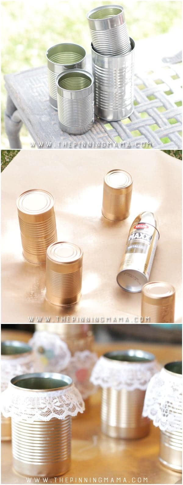 Spray paint tin cans gold and glue lace on them for a stunning centerpiece for a wedding, baby or bridal shower or a banquet!  Such an easy and inexpensive way to decorate