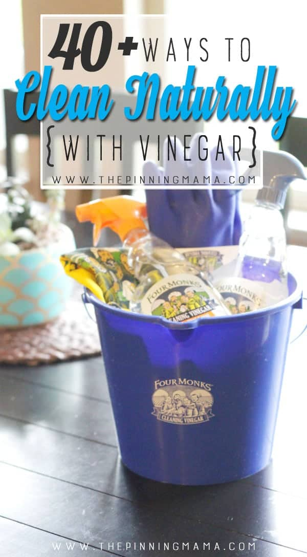 Great list of ways to clean with Vinegar in your home! Cleaning list for kitchen, bathroom, and other areas of your home. keep things clean more naturally and easily!