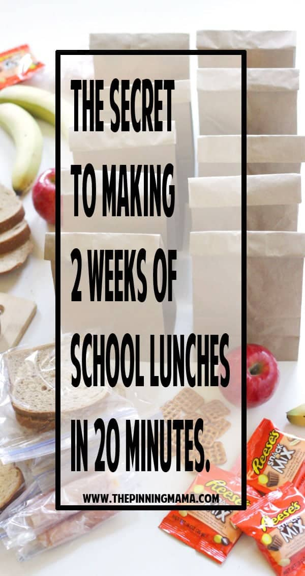 The SECRET to making 2 weeks of school lunches in 20 minutes! Genius! I can totally do this with my kids and it makes the mornings so much quicker and easier! What a great hack!The SECRET to making 2 weeks of school lunches in 20 minutes! Genius lunch idea! I can totally do this with my kids and it makes the mornings so much quicker and easier! What a great hack!