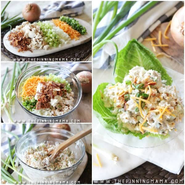 Images showing this chicken salad recipe made from start to finish