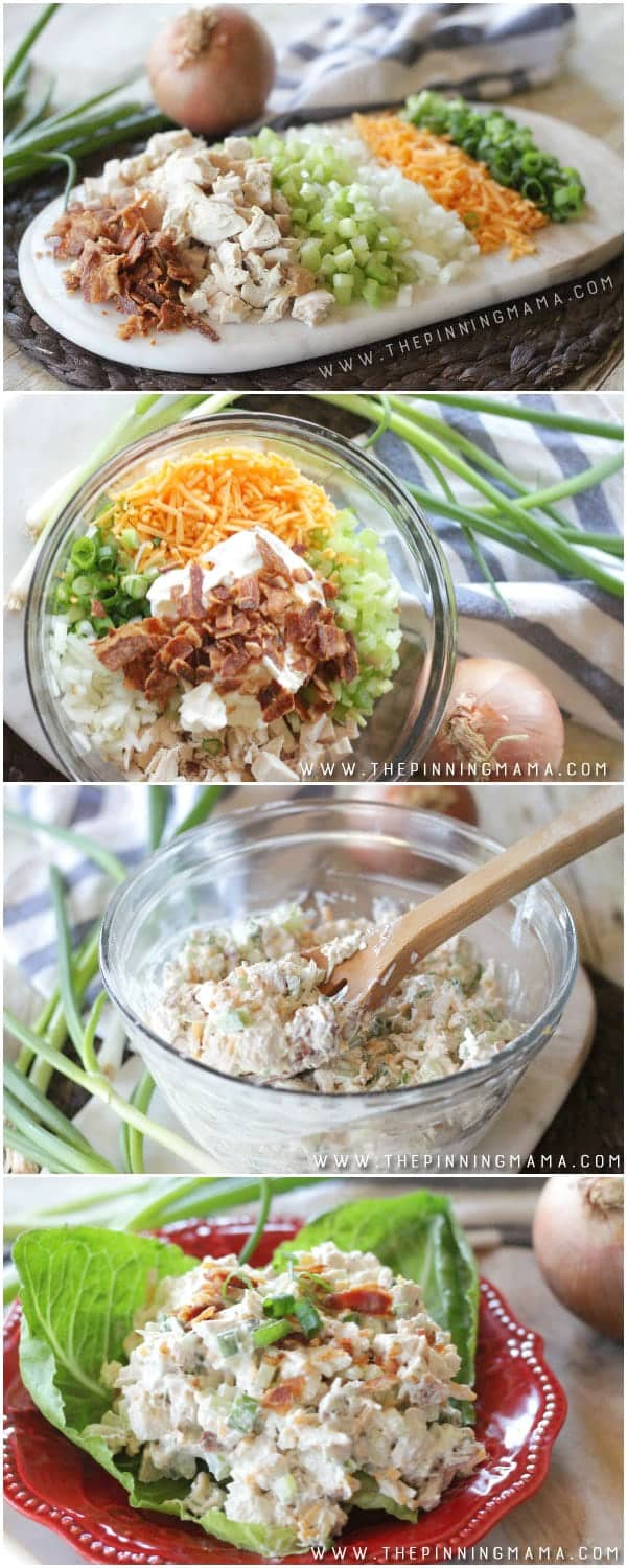 loaded chicken salad ingredients mixed in bowl then shown served on a lettuce wrap