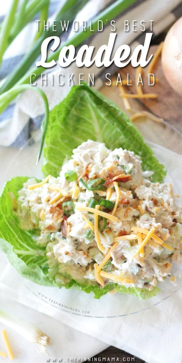close up of single serving of chicken salad on lettuce wrap