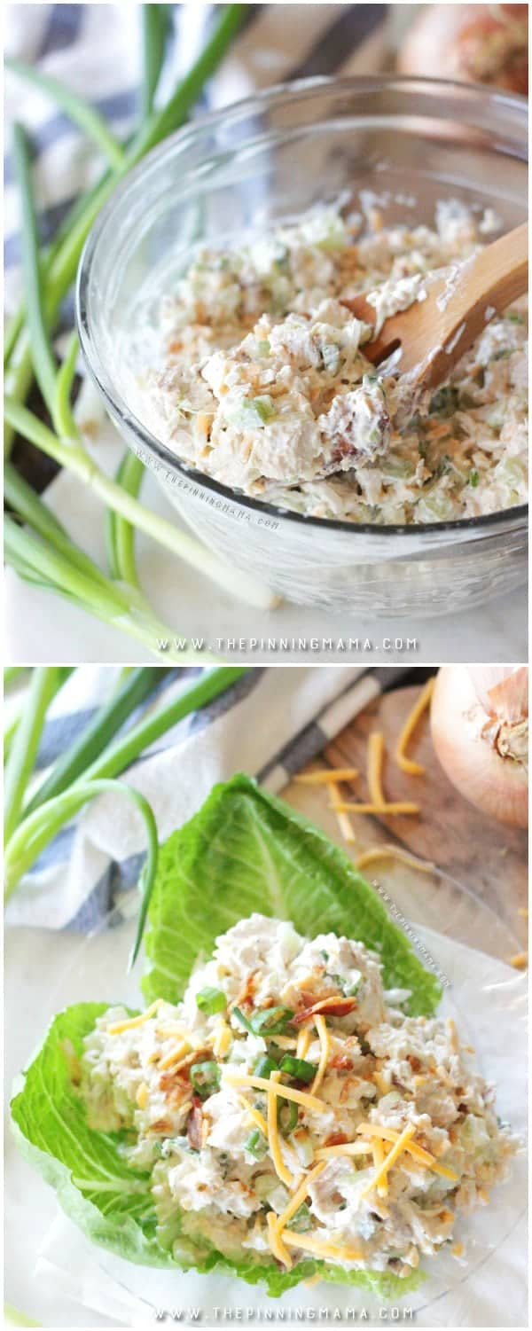 Mixed and ready to serve Creamy Chicken salad in a mixing bowl with wooden spoon