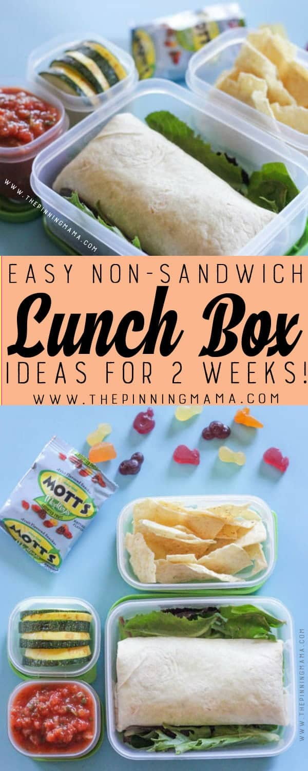 Bean & Cheese Burrito Lunch box idea - Just one of 2 weeks worth of non-sandwich school lunch ideas that are fun, healthy, and easy to make! Grab your lunch bag or bento box and get started!