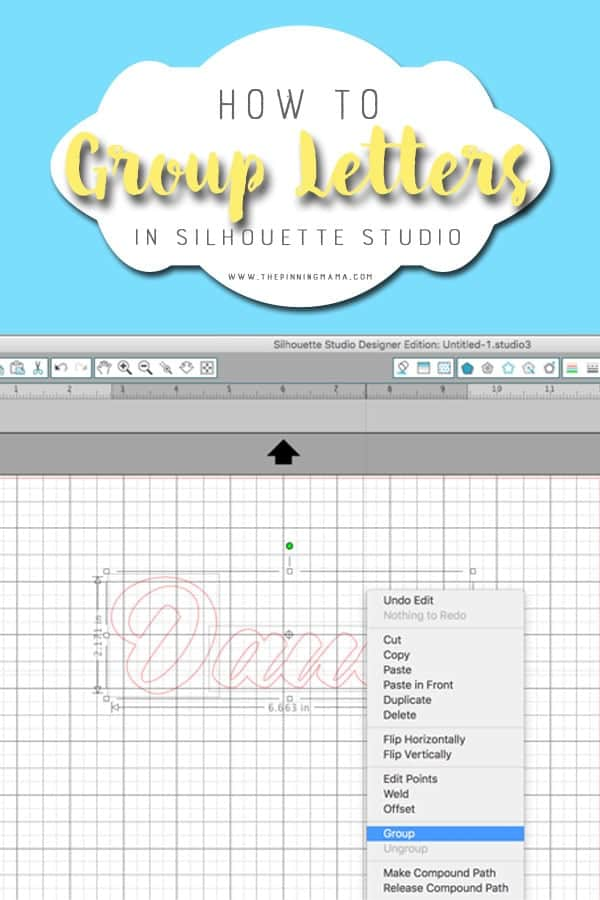 How to Group Letters in Silhouette Studio. This helps you keep perfect lines when you move the text around in your design.