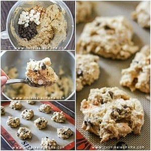 Soft, Thick & Chewy Smores Cookie Recipe- Filled with rich chocolate, yummy graham cracker crumbs and ooey, gooey marshmallows this cookie recipe will be a family favorite in no time!