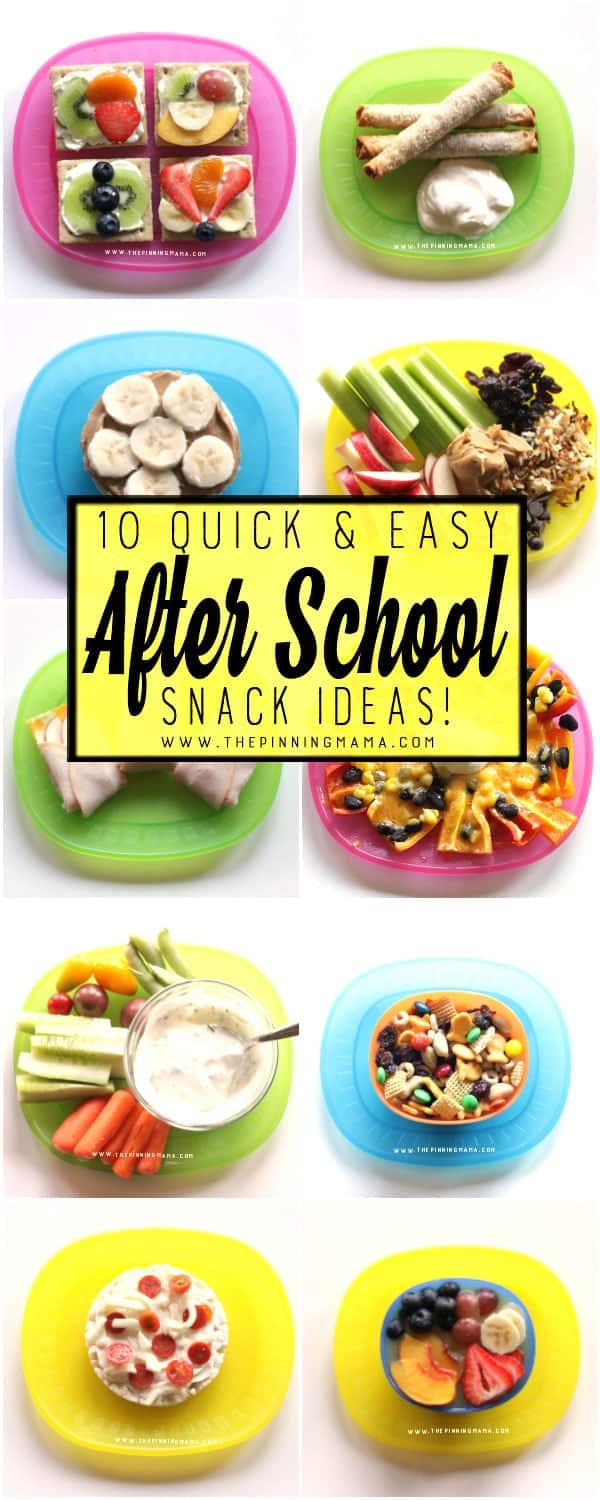 10 Quick and Easy Snack Ideas that REALLY only take 5 minutes to make. My kids love all of these and it makes it so much easier to feed the kids a healthy snack after school with these easy snack ideas!