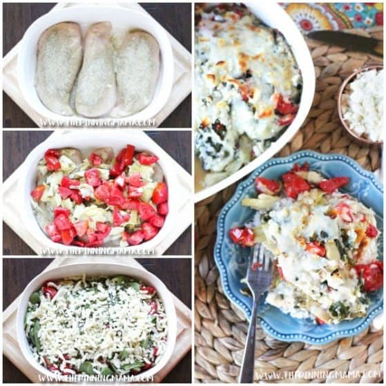 Spinach, artichoke, tomatoes, lemon, and feta all baked over chicken - Mediterranean Chicken Bake Recipe is so easy to make and clean up in only one dish! This recipe always impresses guests but is super simple to prep and get ready for a busy weeknight too!
