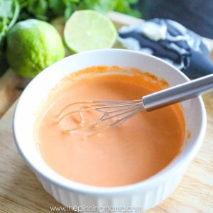 This spicy mayo is the perfect compliment to many asian dishes or even dipping french fries! It combines the zesty flavor of sriracha and lime with the creaminess of mayo for the perfect dipping sauce!