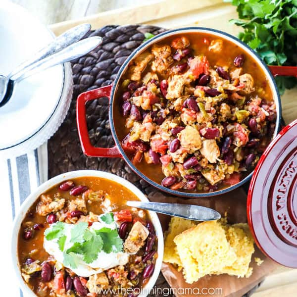 Chili with Chicken and Beans Recipe - The perfect homemade chili recipe full of whole foods and not too spicy!