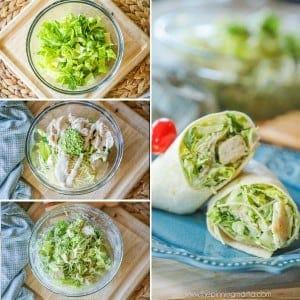 Pesto Chicken Caesar Lunch Wraps step by step