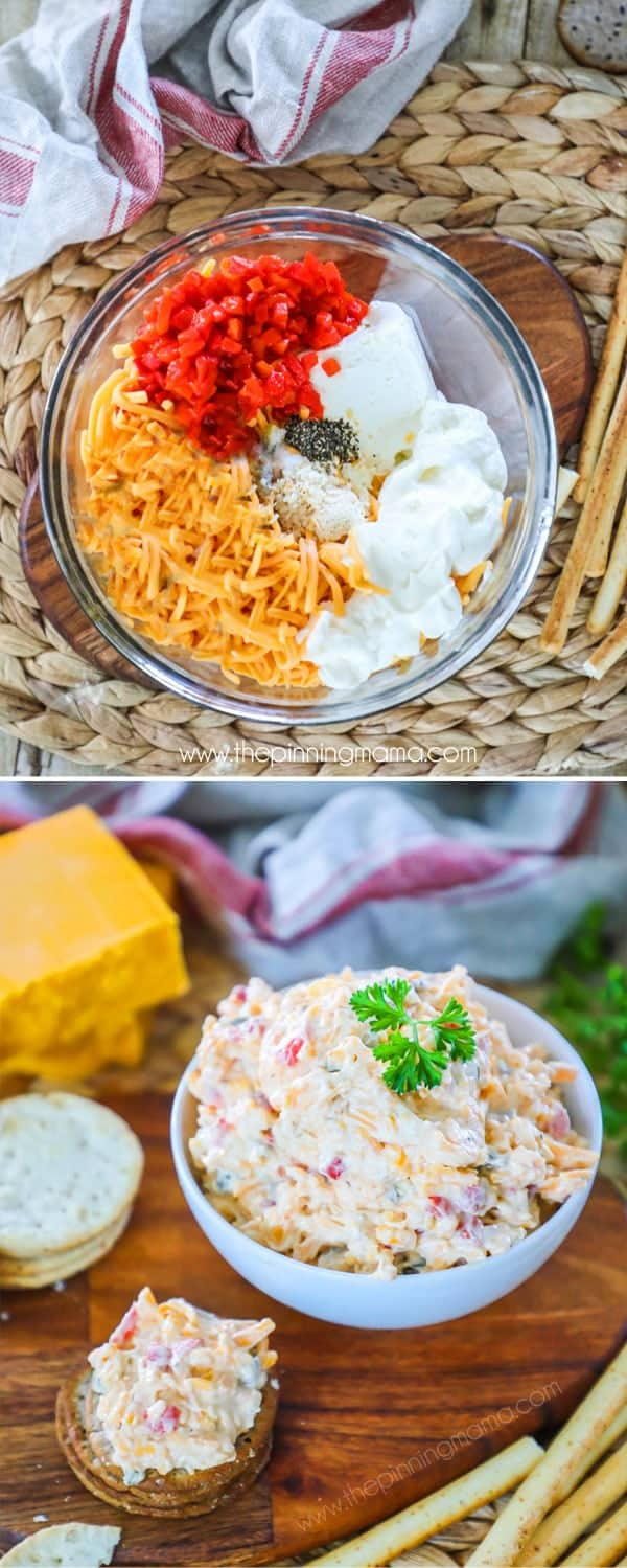 Homemade Pimento Cheese Ingredients with cheddar and cream cheese