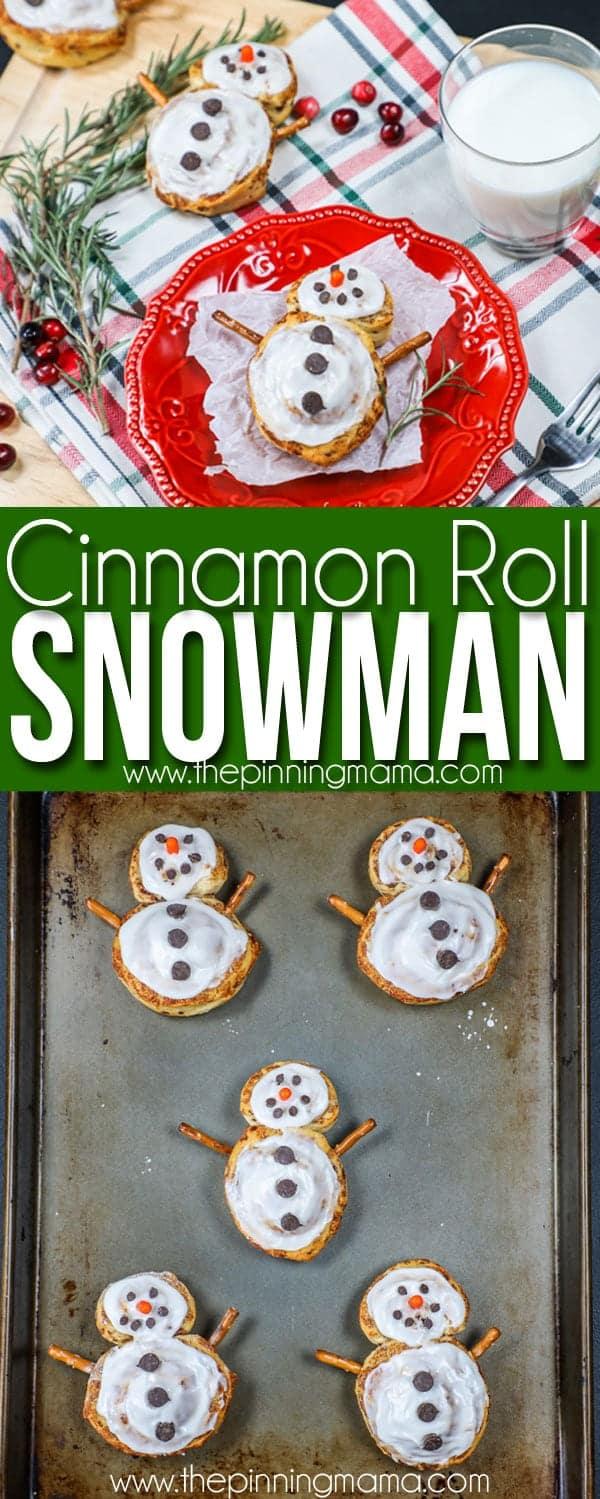 Christmas Breakfast idea- Cinnamon Roll Snowmen