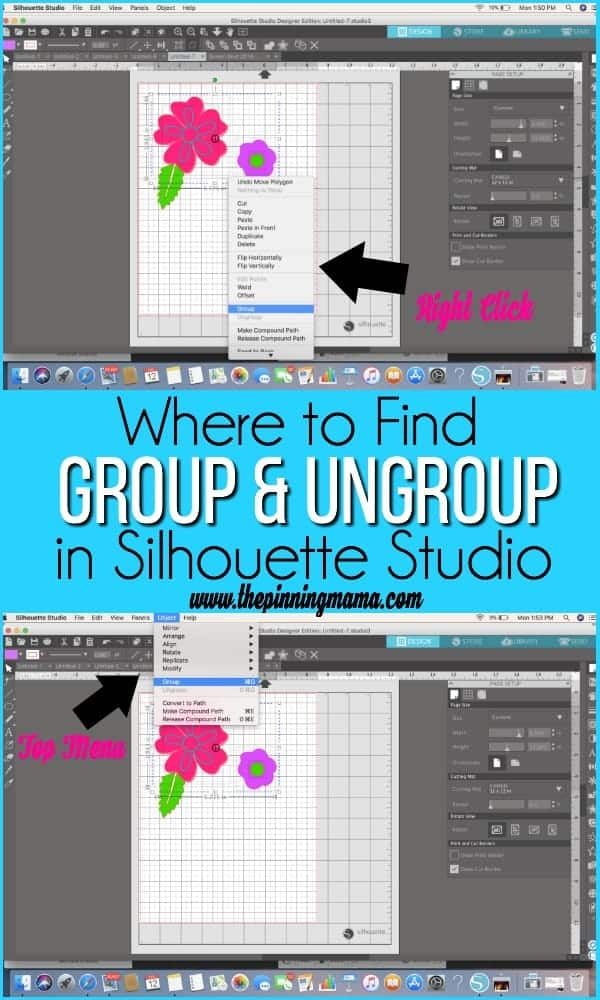 Group and Ungroup in Silhouette Studio.