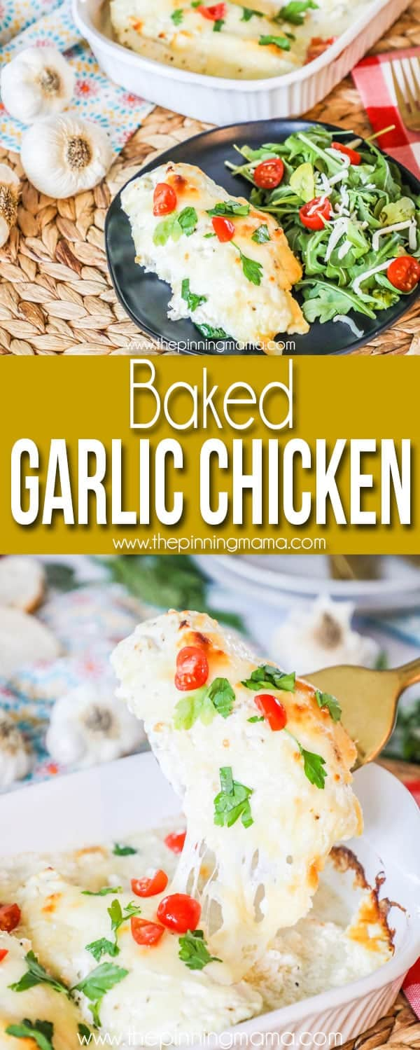 Low Carb Baked Garlic Chicken served with salad
