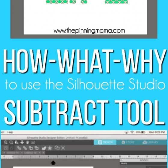 Using the Subtract tool in Silhouette Studio.