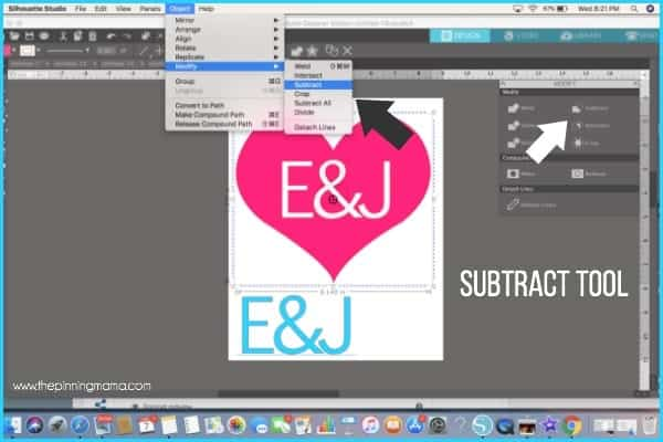 Where do I find the Subtract tool in Silhouette Studio?