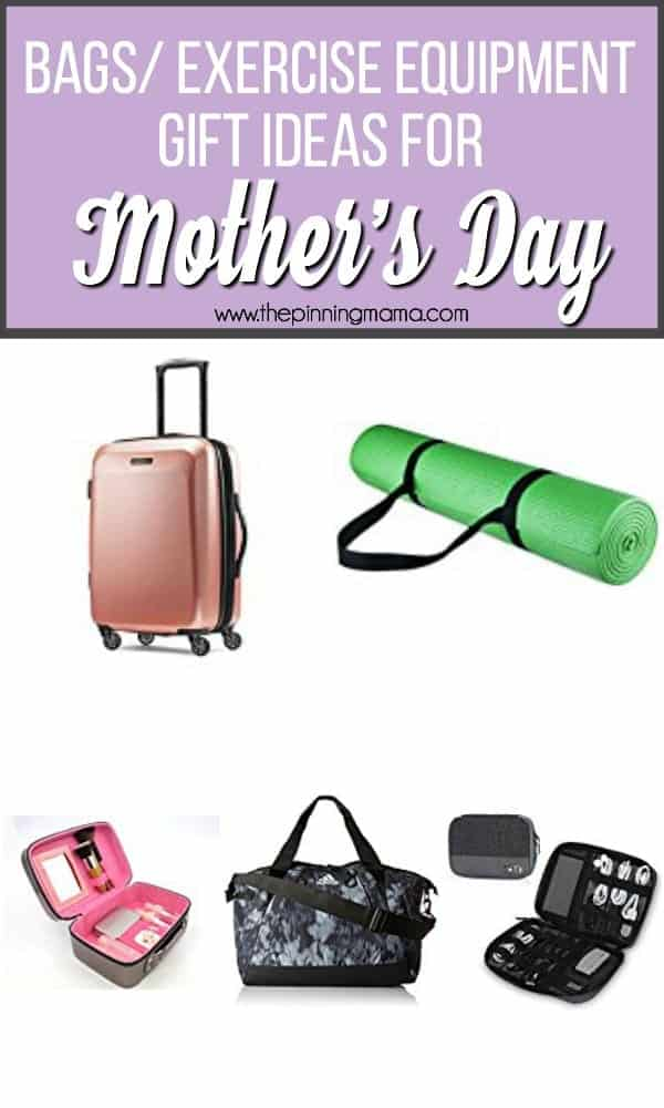 Bags and Exercise equipment gift ideas for Mother's Day.