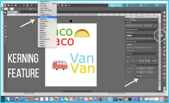 Where to find Kerning in Silhouette Studio.