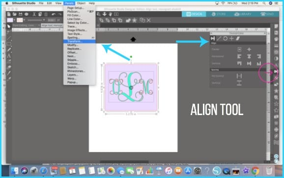 Where do I find the Align tool in Silhouette Studio.