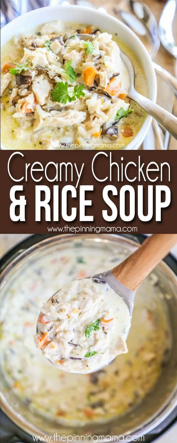 The BEST Creamy Chicken & Rice Soup