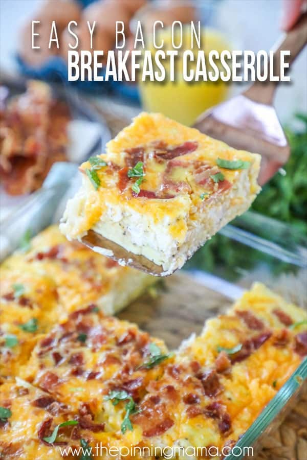 Slice of Easy Breakfast Casserole with Bacon on a spatula