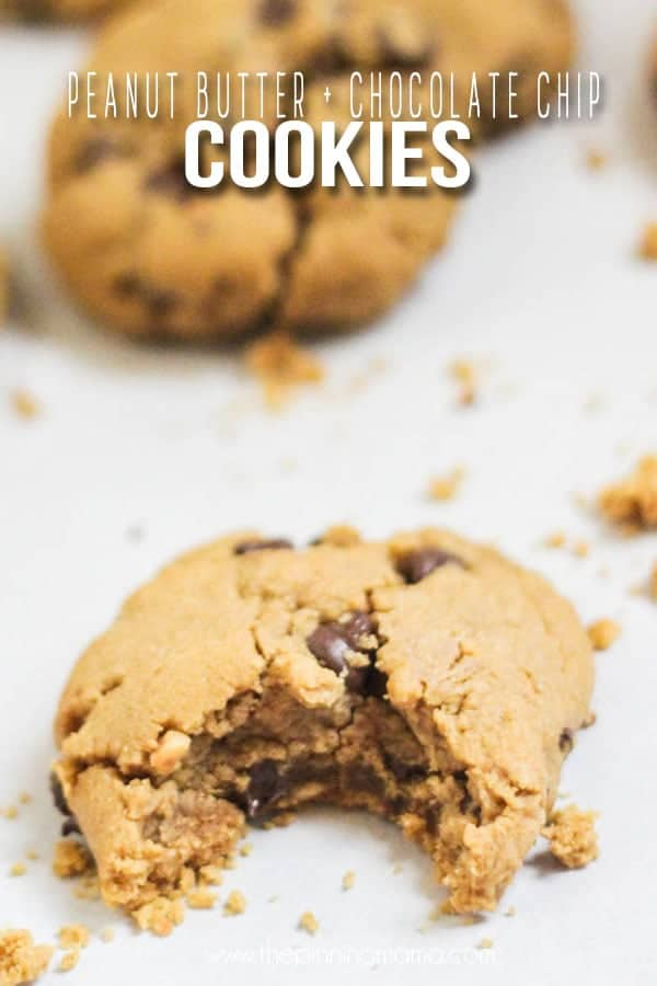 Chewy Peanut Butter Chocolate Chip Cookies on a table