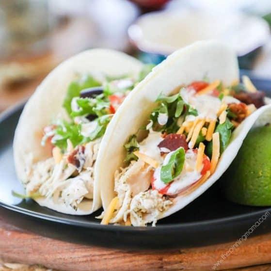 Recipe for Chicken Ranch Tacos.