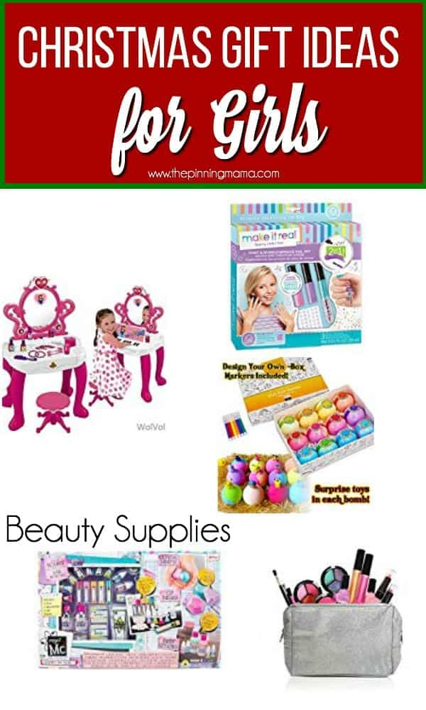 Christmas Gift Ideas for Girls, Beauty Supplies including play makeup and bath bombs.