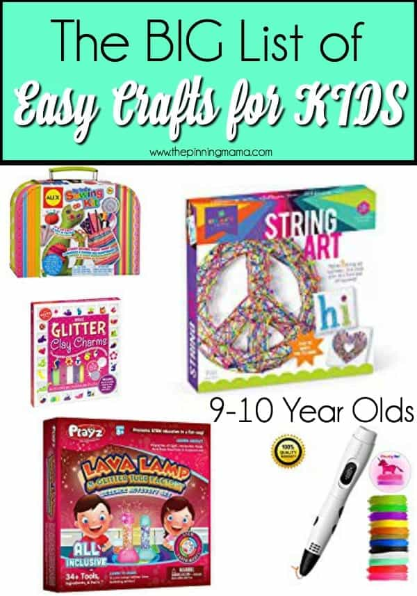 The BIG List of Easy Crafts for 9-10 year olds
