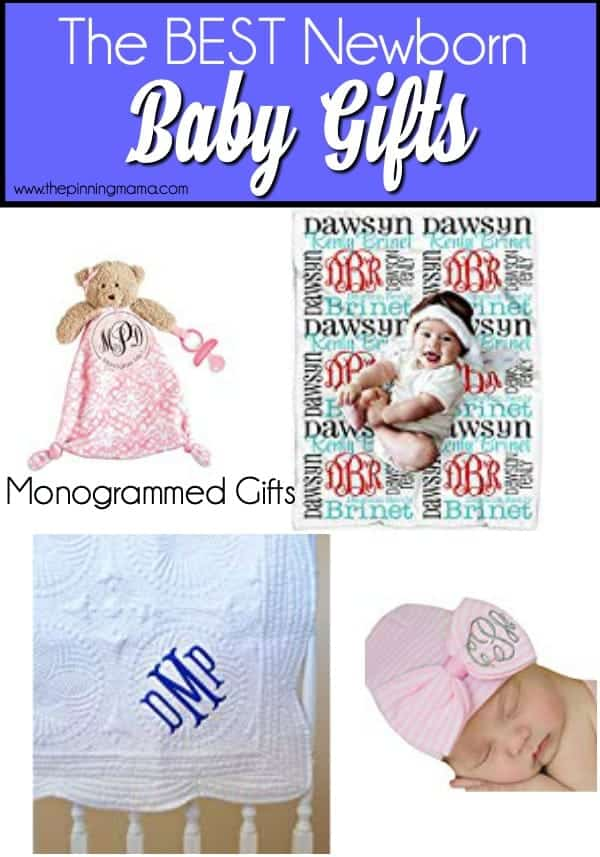 Monogrammed gift ideas for newborn babies.
