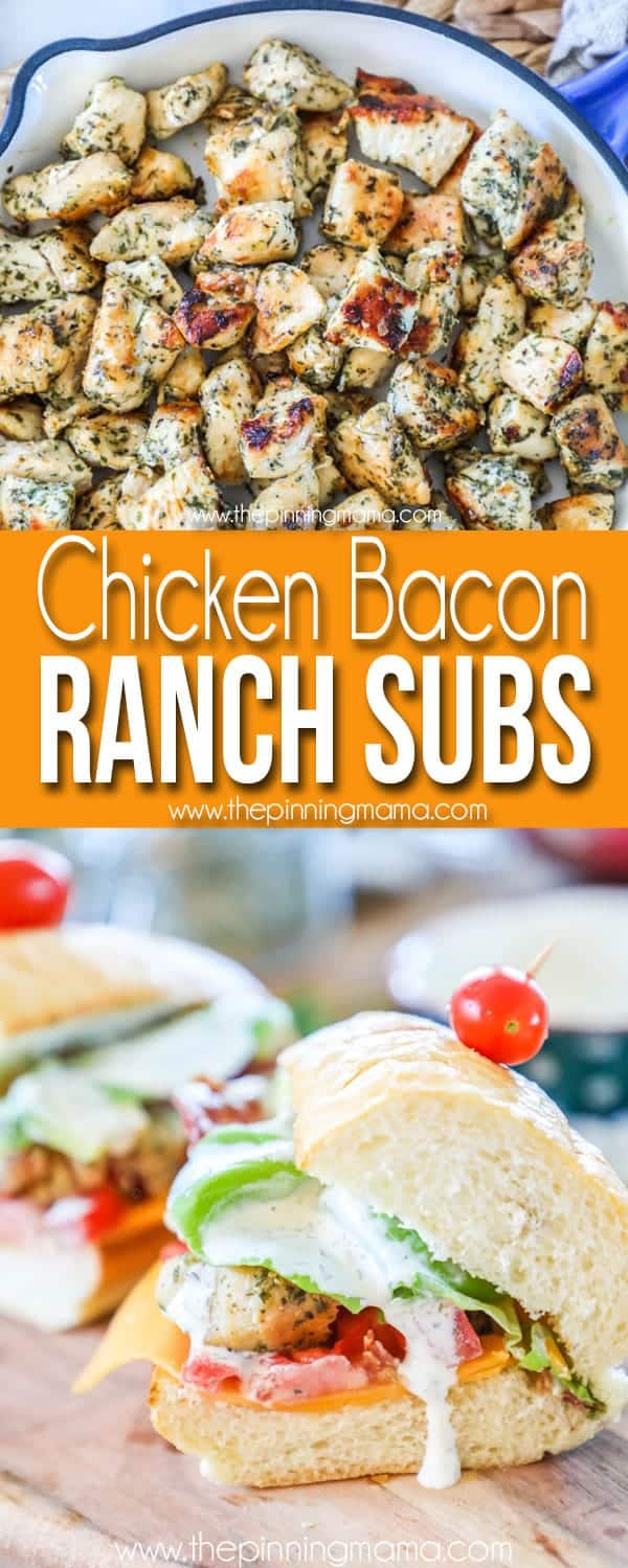 Chicken Bacon Ranch Subs are loaded with ranch dressing, cheese, tomatoes, and lettuce.