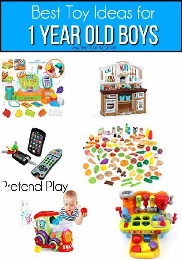 The Big list of pretend play toy ideas for 1 year old boys.