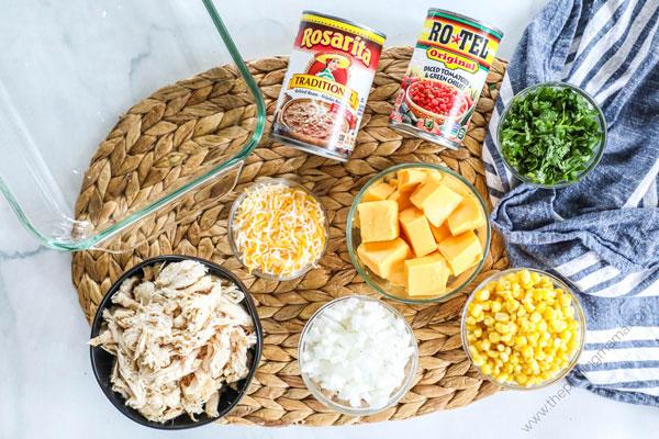 Ingredients to make Rotel Chicken Casserole