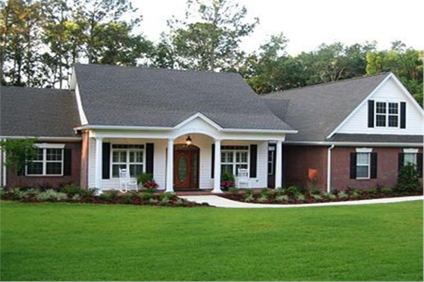 Ranch House Plans that are Affordable and Stylish Ranch Style House Plans  Attractive Ranch house plan with brick and white  lap siding and front porch with columns