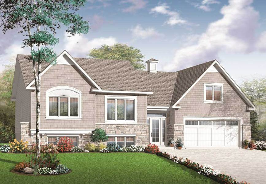 Split Level Multi Level House Plan  2136 sq  ft  Home Plan  126 1081  126 1081      Color rendering House Plan  126 1081