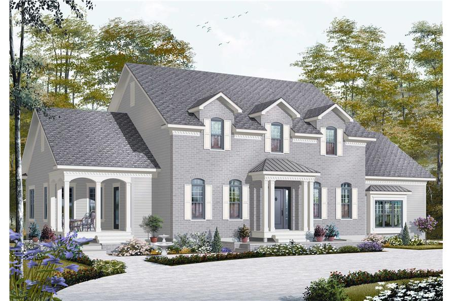 Colonial House Plan   5 Bedrms  4 5 Baths   3126 Sq Ft    126 1168  126 1168      5 Bedroom  3126 Sq Ft Colonial House Plan   126 1168   Front