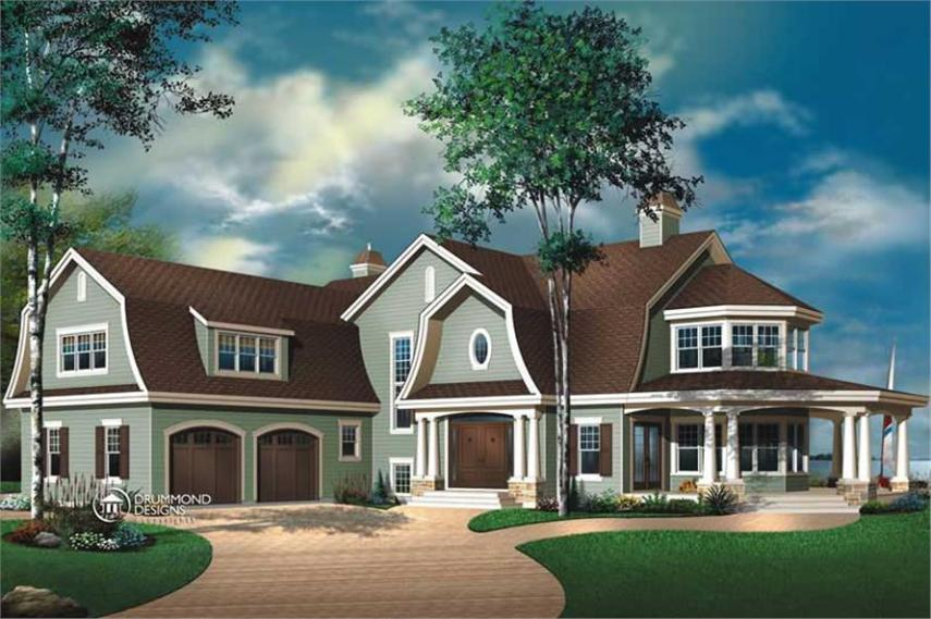 Luxury  Contemporary  Country  Farmhouse House Plans   Home Design      126 1446      4 Bedroom  4075 Sq Ft Contemporary House Plan   126 1446   Front