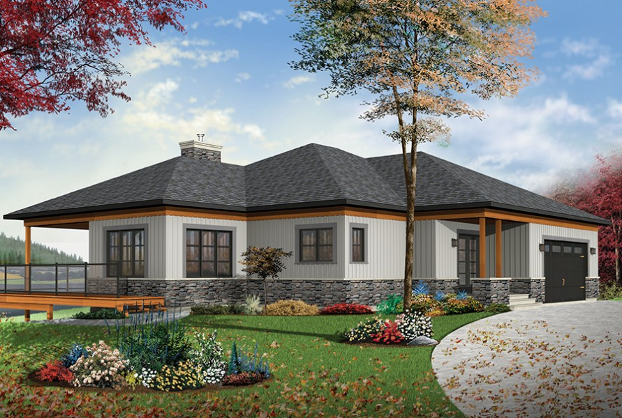 4 Bedrm  2890 Sq Ft Contemporary House Plan  126 1891  126 1891      Color rendering of Contemporary home plan  ThePlanCollection  House  Plan  126 1891
