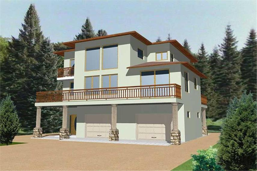 Contemporary  Modern House Plans   Home Design GHD 3091   8828  132 1339      3 Bedroom  2142 Sq Ft Contemporary Home Plan   132 1339   Main