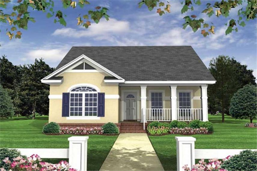 Southern  Traditional  Country House Plans   Home Design HPG 1100 1      141 1083      2 Bedroom  1100 Sq Ft Country House Plan   141 1083   Front