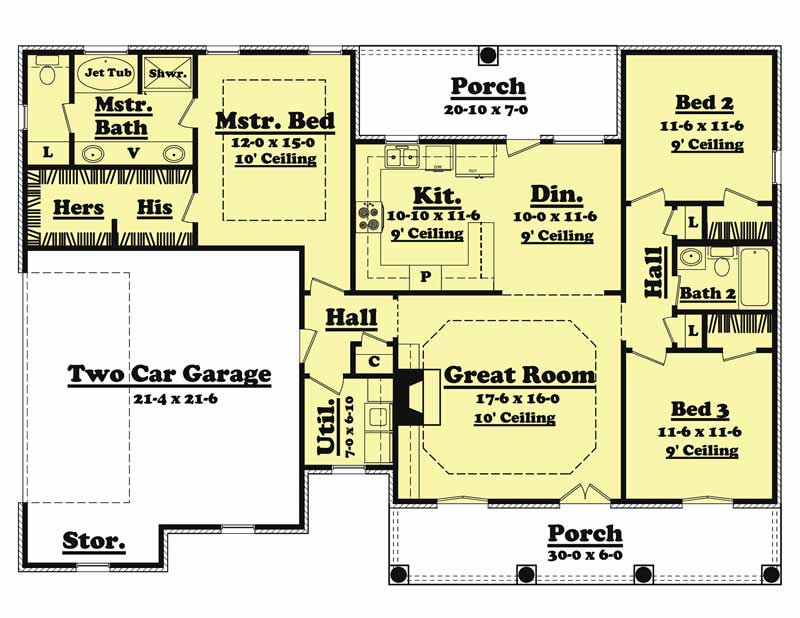 1 Story 1500 3 Bedrooms House Plans Foot Square