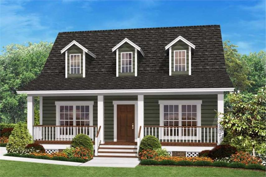 Small Country Home Plan     Two Bedrooms   Plan  142 1032  142 1032      2 Bedroom  900 Sq Ft Cape Cod House Plan   142 1032