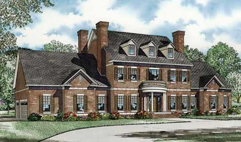 Colonial House Plan  153 1058  3 Bedrm  4996 Sq Ft Home      153 1058      Front elevation of Colonial home  ThePlanCollection  House Plan   153 1058
