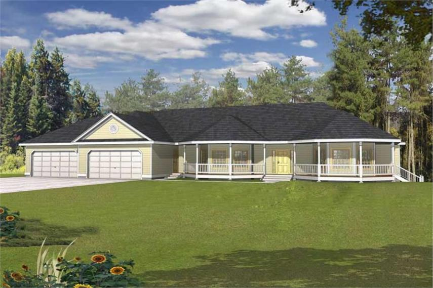 Ranch House Plans   Home Design RDI 2560R1 DB   18954 4 Bedroom  5120 Sq Ft Contemporary Plan with Kitchen Island