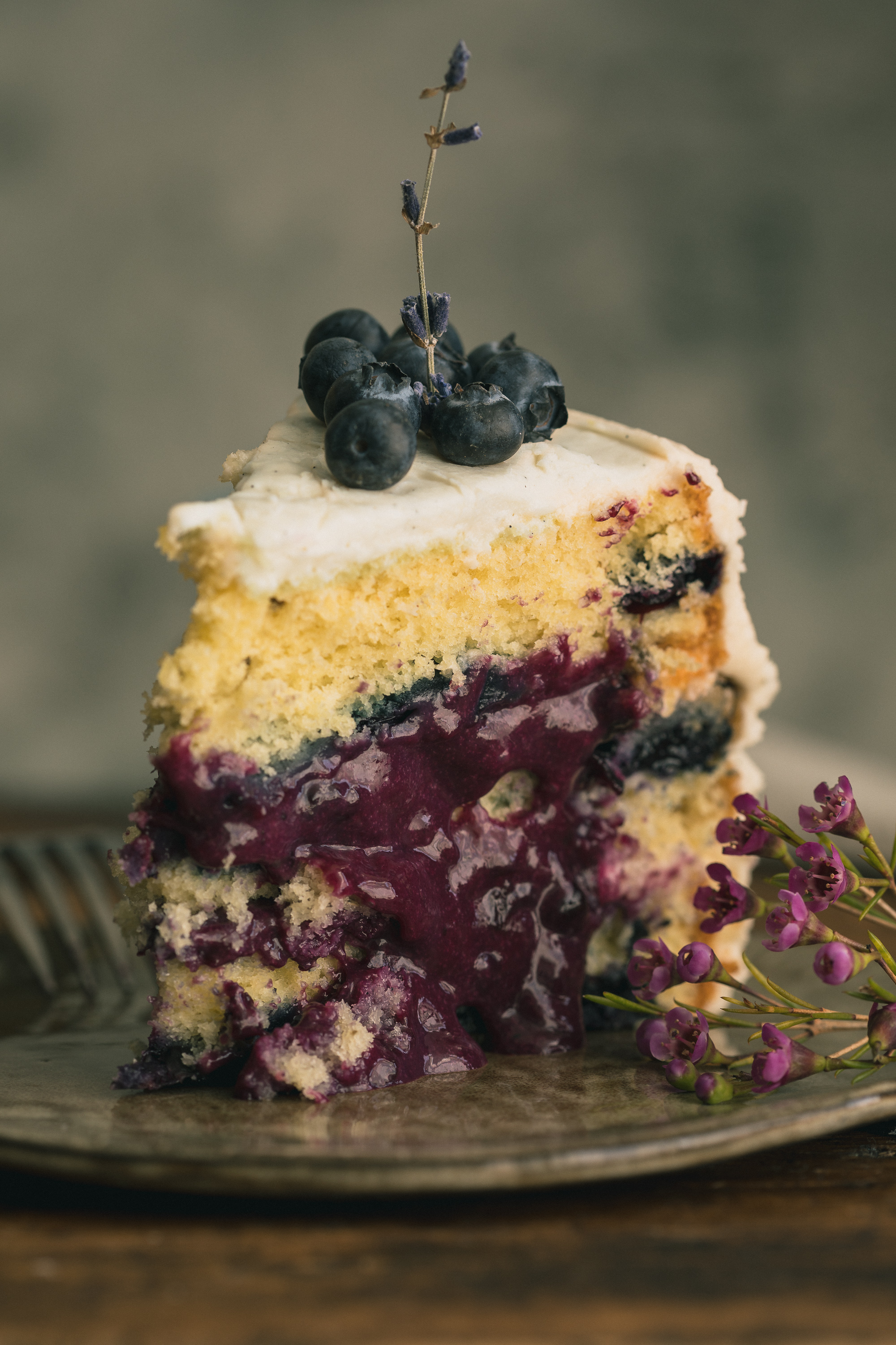 Lavender Blueberry Cake With Cream Cheese Frosting The