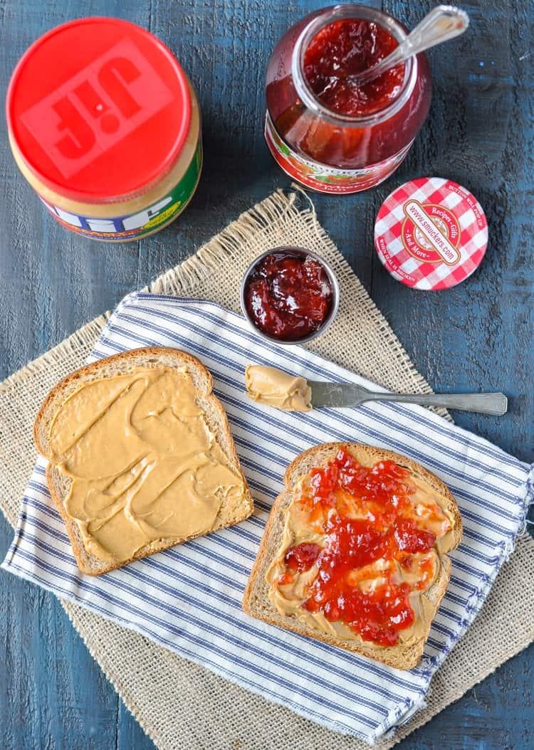 Fresh Strawberry And Peanut Butter Sandwich